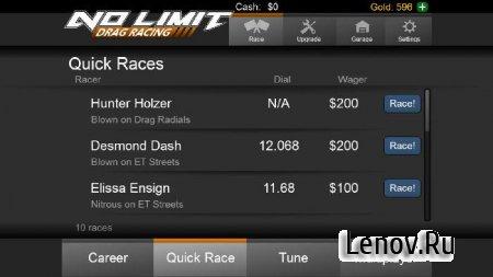 No Limit Drag Racing (обновлено v 1.55) Мод (много денег)