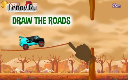 Road Draw: Climb Your Own Hills v 1.9.0 Мод (Infinite Coins/Fuel)