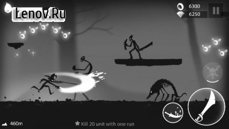 Stickman Run: Shadow Adventure v 1.2.10 Мод (Infinite Coins/Gems/No Attack Delay)