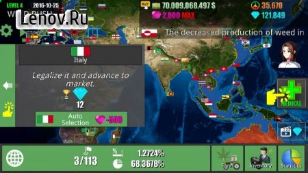 Weed Green Rush: Legalize It! v 1.1.1 Мод (Free Shopping)