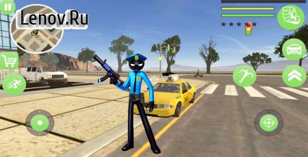 Police Stickman Rope Hero Gangstar Crime Mafia v 1.1 Мод (Unlimited Coin/Gem)